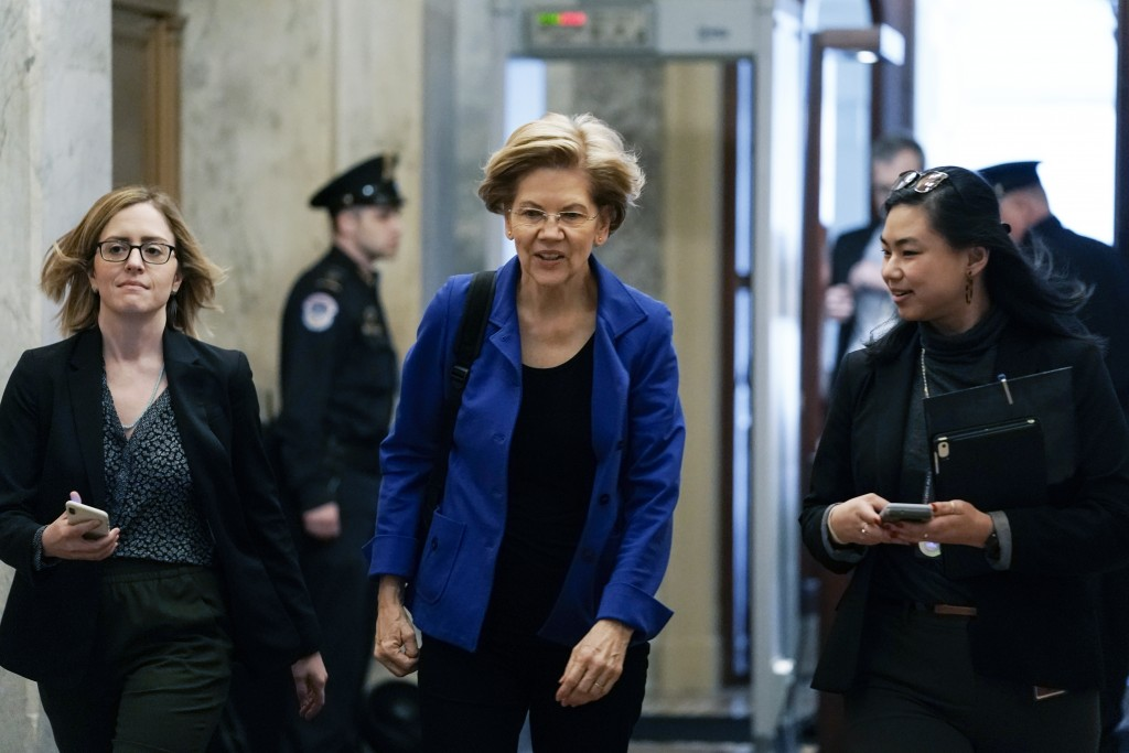 Sen. Elizabeth Warren, D-Mass., arrives at the at the Capitol in Washington, Thursday, Jan. 16, 2020. The impeachment of President Donald Trump is the...