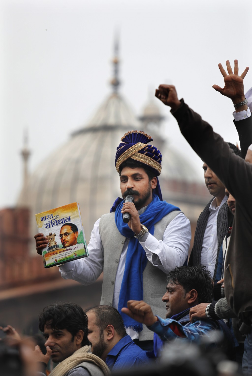 Chandrashekhar Azad, leader of the Bhim Army, a political party of Dalits who represent the Hinduism's lowest caste, center, speaks during a protest a...