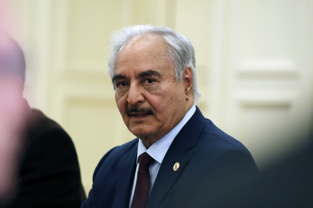 Libyan Gen. Khalifa Hifter joins a meeting with the Greek Foreign Minister Nikos Dendias and other officials in Athens, Friday, Jan. 17, 2020. The com...