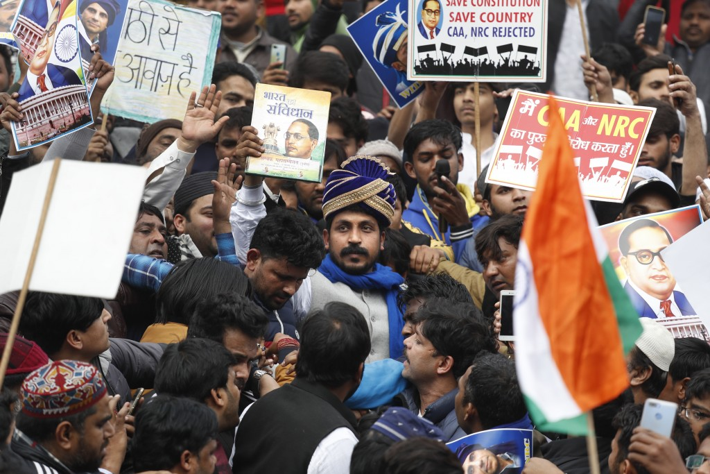 Chandrashekhar Azad, leader of the Bhim Army, a political party of Dalits who represent the Hinduism's lowest caste, center, leads a protest against a...