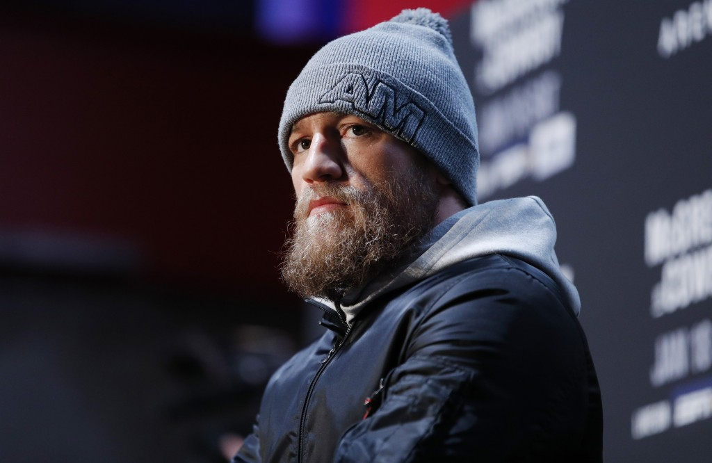 Conor McGregor speaks during a media event for the UFC 246 mixed martial arts bout, Thursday, Jan. 16, 2020, in Las Vegas. McGregor is scheduled to fi...