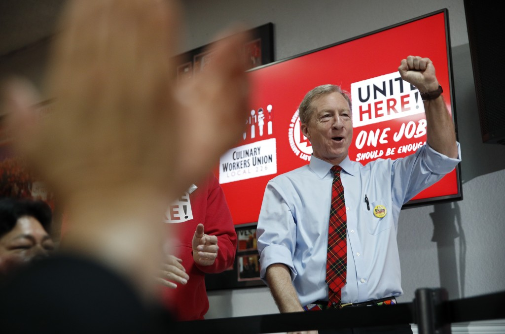 Democratic presidential candidate and businessman Tom Steyer reacts before speaking at a Culinary Workers Union hall Thursday, Jan. 16, 2020, in Las V...