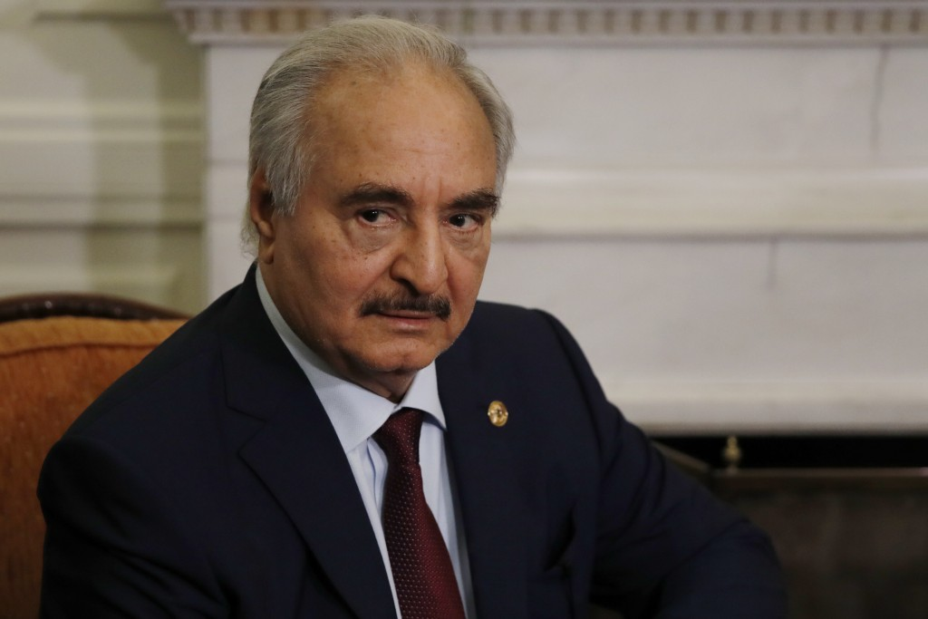 Libyan Gen. Khalifa Hifter joins a meeting with the Greek Foreign Minister Nikos Dendias in Athens, Friday, Jan. 17, 2020. The commander of anti-gover...