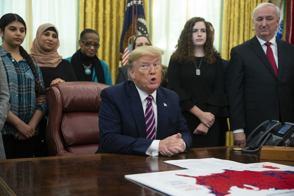 President Donald Trump speaks during an event on prayer in public schools, in the Oval Office of the White House, Thursday, Jan. 16, 2020, in Washingt...