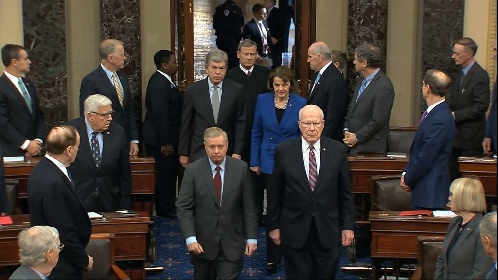 In this image from video, Sen. Lindsey Graham, R-S.C., left, Sen. Patrick Leahy, D-Vt., Sen. Dianne Feinstein, D-Calif., and Sen. Roy Blunt, R-Mo., es...