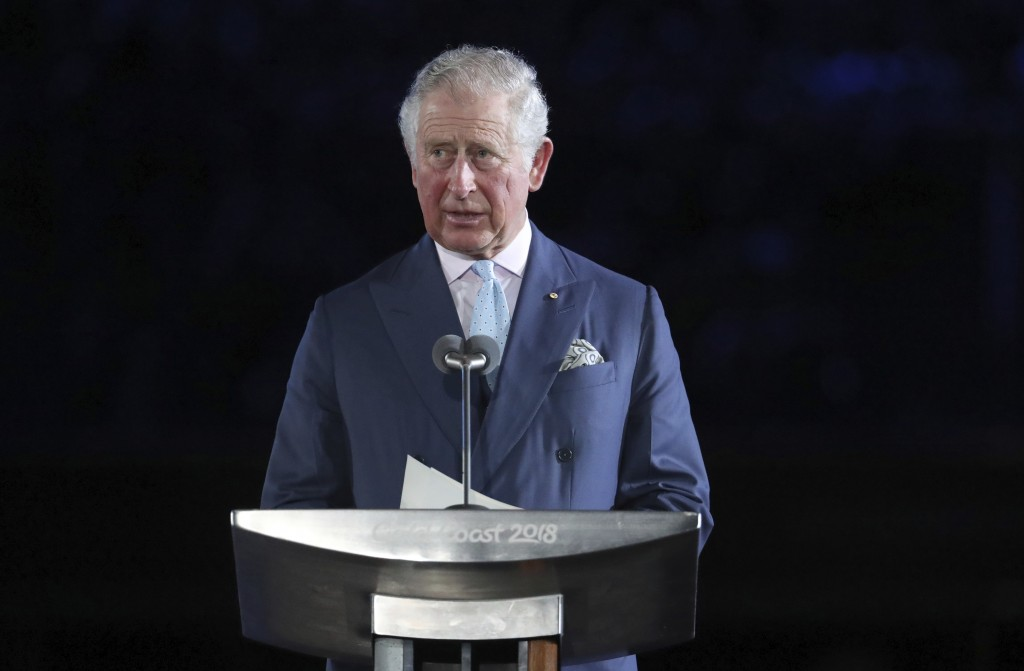 FILE - In this Wednesday, April 4, 2018 file photo, Prince Charles declares the games open during the opening ceremony for the 2018 Commonwealth Games...