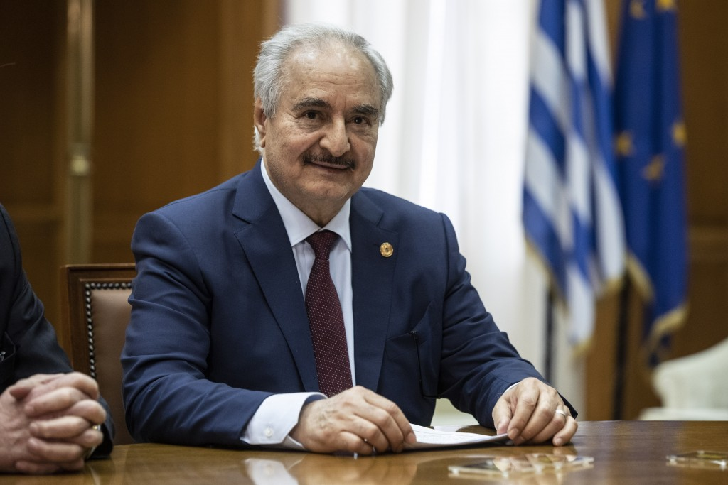 Libyan Gen. Khalifa Hifter looks on during his meeting with Greek Prime Minister Kyriakos Mitsotakis, in Athens, Friday, Jan. 17, 2020. The commander ...