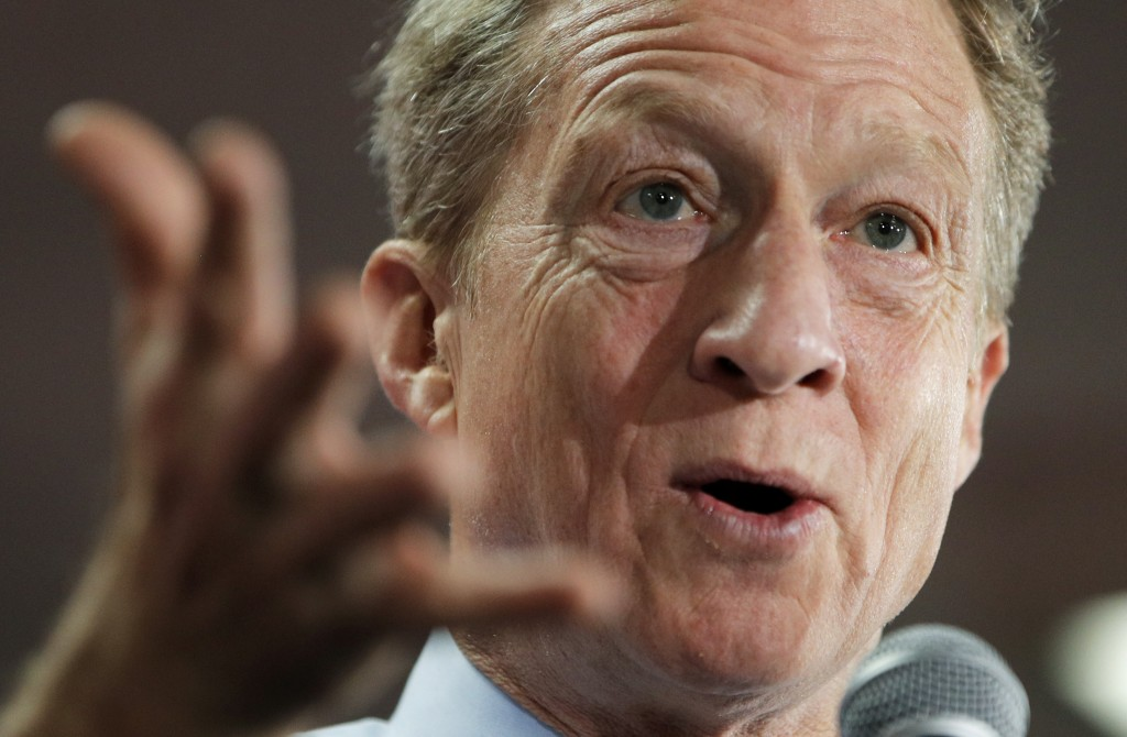 Democratic presidential candidate and businessman Tom Steyer speaks at a Culinary Workers Union hall Thursday, Jan. 16, 2020, in Las Vegas. (AP Photo/...