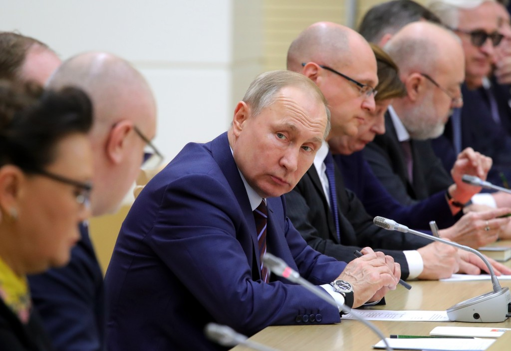FILE - In this file photo taken on Jan. 16, 2020, Russian President Vladimir Putin attends a meeting on drafting constitutional changes at the Novo-Og...