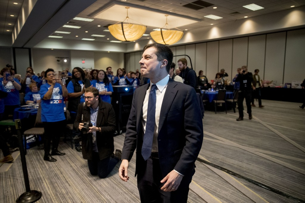 Democratic presidential candidate former South Bend, Ind., Mayor Pete Buttigieg arrives at the Iowa State Education Association Candidate Forum at the...