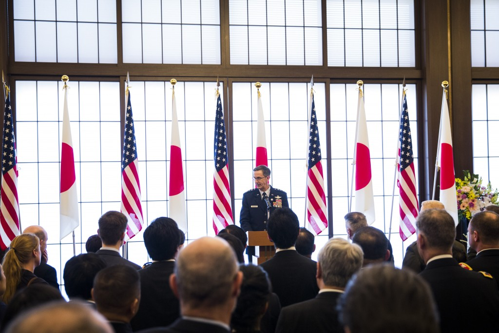 Commander of the U.S. Forces in Japan Lieutenant General Kevin Schneider delivers his speech during the 60th anniversary commemorative reception of th...