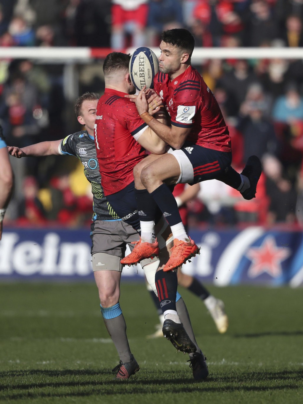 Munster's Conor Murray clashes with team mate Jack O'Donoghue during the match against Ospreys, during their Champions Cup, pool four match at Thomond...