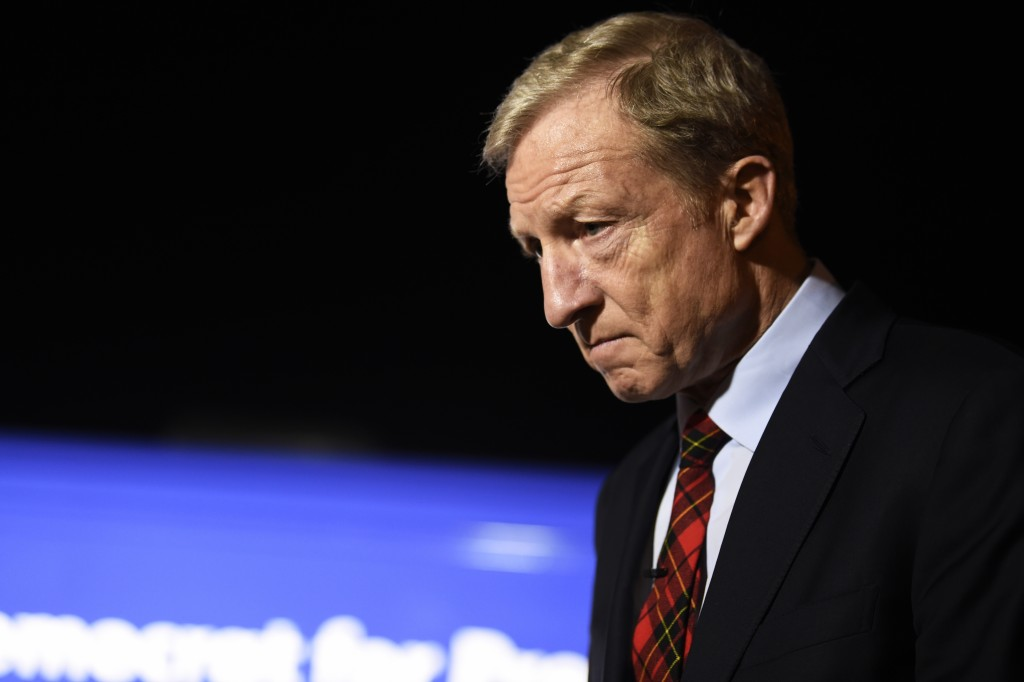 Democratic presidential hopeful Tom Steyer takes questions from reporters before a campaign event in Florence, S.C., Saturday, Jan. 18, 2020. (AP Phot...
