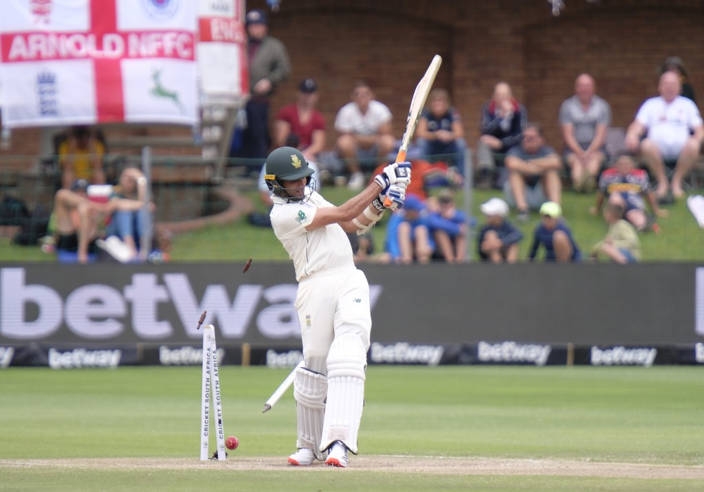 Keshav Maharaj of South Africa is bowled by Stuart Board Bowler of England during day four of the third cricket test between South Africa and England ...