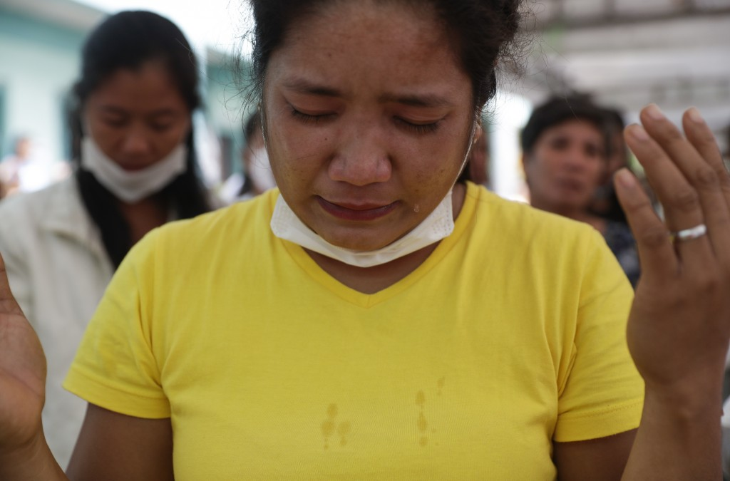 A tears fall from evacuee Rhee Diomampo during a mass at an evacuation center near Taal volcano in Tagaytay, Cavite province, southern Philippines on ...