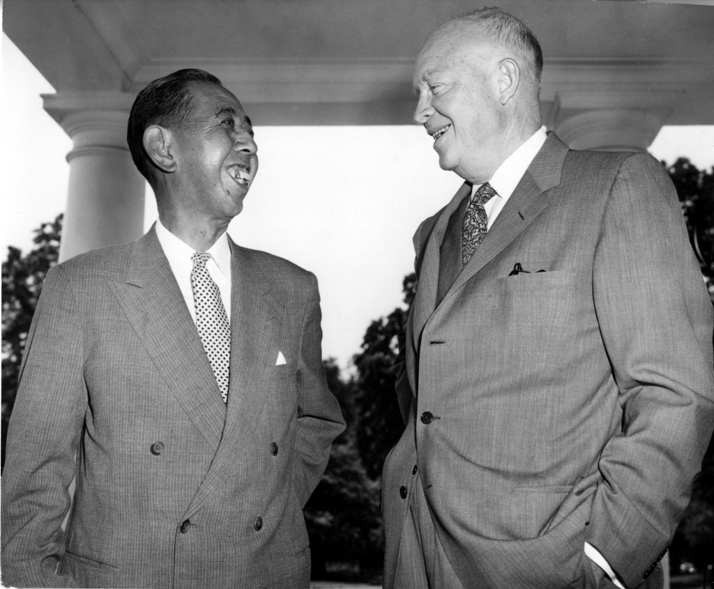 President Eisenhower and Japanese Prime Minister Kishi engage in small talk during their farewell meeting at the White House, June 21, 1957. (AP Photo...