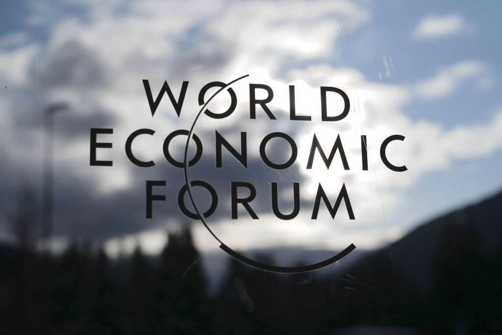 The logo of the World Economy Forum is displayed on a door at the Congress Centre in Davos, Switzerland, Sunday, Jan. 19, 2020. The 50th annual meetin...