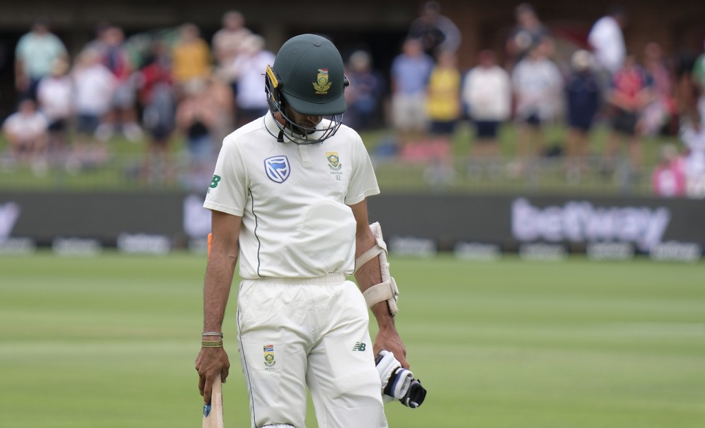 Keshav Maharaj of South Africa losed his wicket and leaves the field during day four of the third cricket test between South Africa and England in Por...