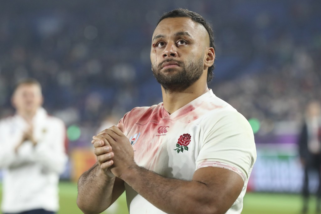 FILE - In this Saturday, Nov. 2, 2019 file photo, England's Billy Vunipola reacts after their Rugby World Cup final loss to South Africa at Internatio...