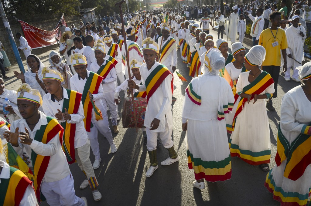 Christians from the Ethiopian Orthodox church celebrate the first day of the festival of Timkat, or Epiphany, in the capital Addis Ababa, Ethiopia Sun...