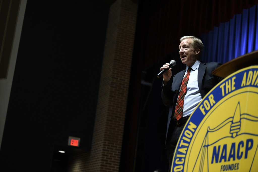 Democratic presidential hopeful Tom Steyer speaks, Sunday, Jan. 19, 2020, at an NAACP rally at South Carolina State University in Orangeburg, S.C. (AP...