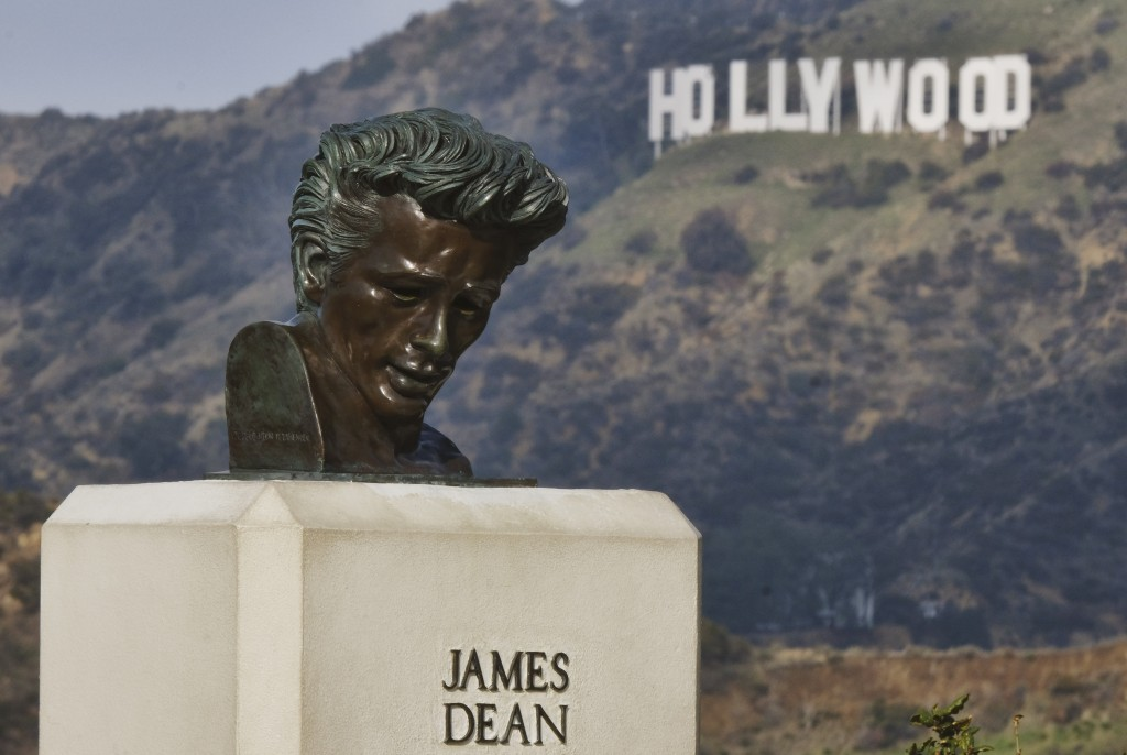 This Friday, Jan. 17, 2020, photo shows a bust of actor James Dean at the Griffith Observatory in the Griffith Park area of Los Angeles. Travis Cloyd,...