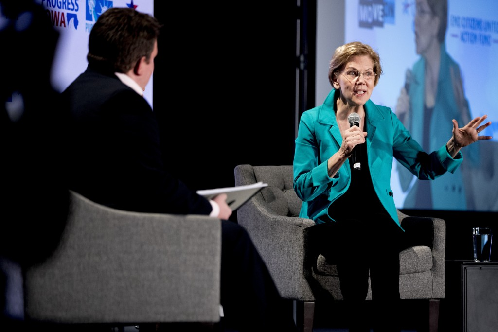 Democratic presidential candidate Sen. Elizabeth Warren, D-Mass., speaks at We The People 2020: Protecting Our Democracy After Citizens United at Cura...