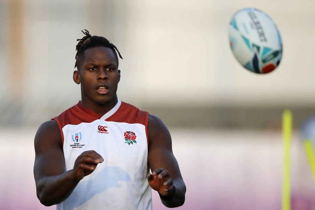 FILE - In this Wednesday, Oct. 23, 2019 file photo, England's Maro Itoje catches the ball during a training session in Urayasu, Japan. There are more ...