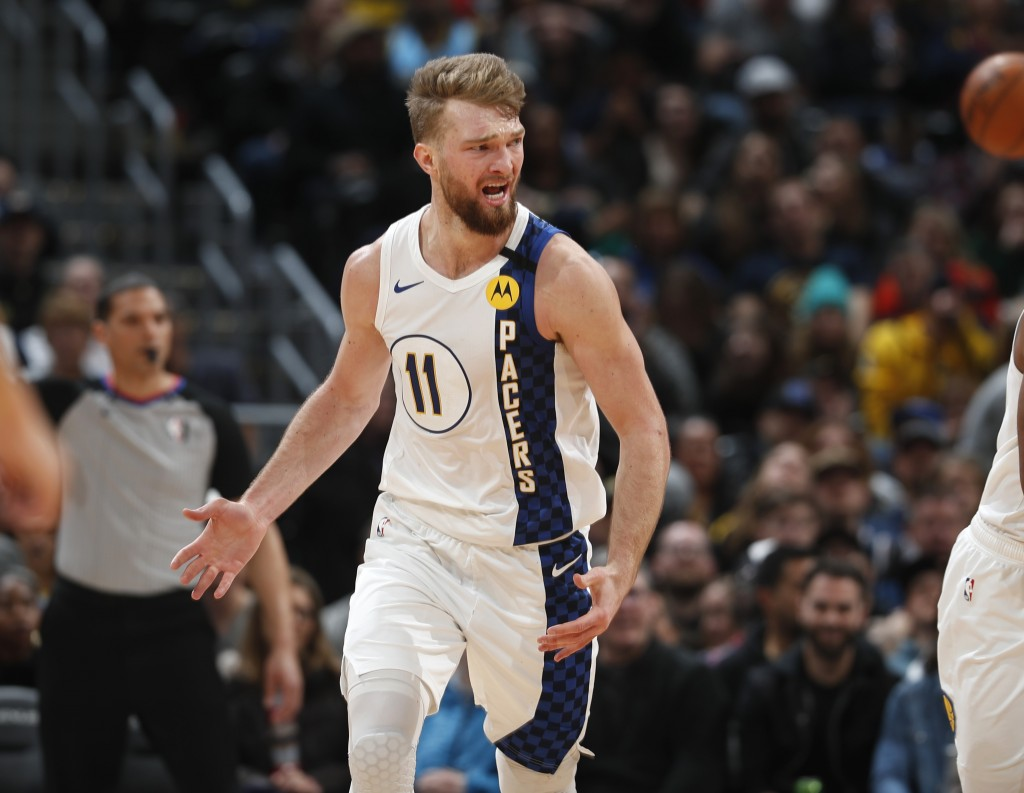 Indiana Pacers forward Domantas Sabonis argues for a foul in the second half of an NBA basketball game against the Denver Nuggets Sunday, Jan. 19, 202...