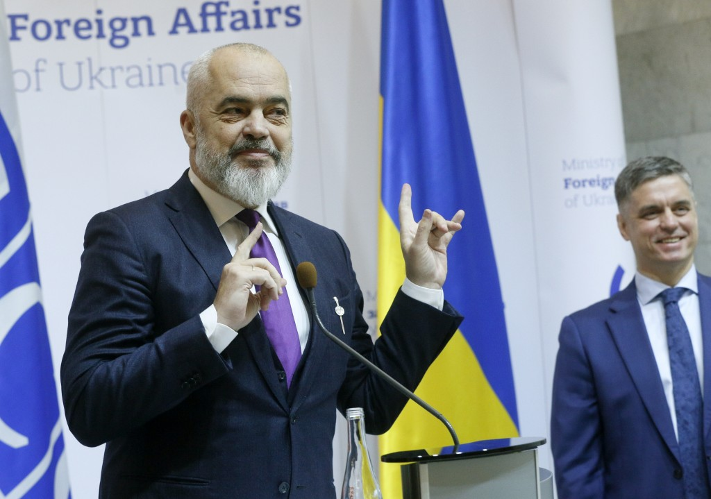 OSCE Chairperson in Office, Albania's Prime Minister Edi Rama, left, and Ukrainian Minister for Foreign Affairs Vadym Prystayko attend a news conferen...