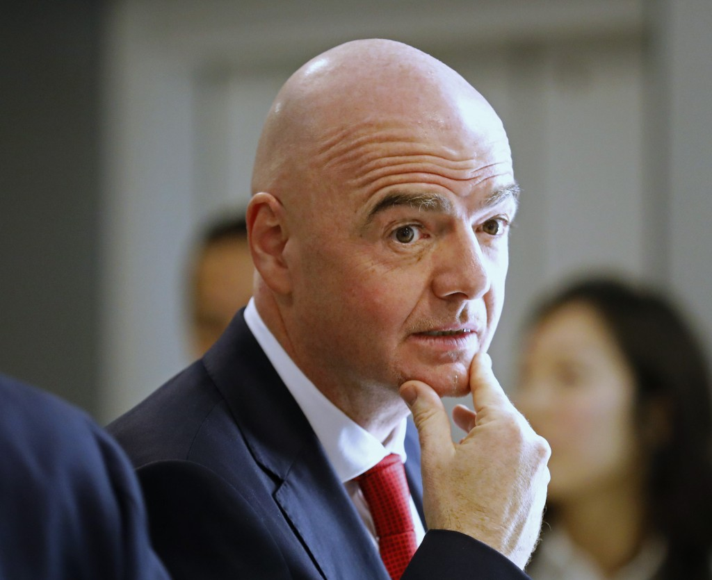FIFA President Gianni Infantino attends the World Economic Forum in Davos, Switzerland, Tuesday, Jan. 21, 2020. The 50th annual meeting of the forum w...