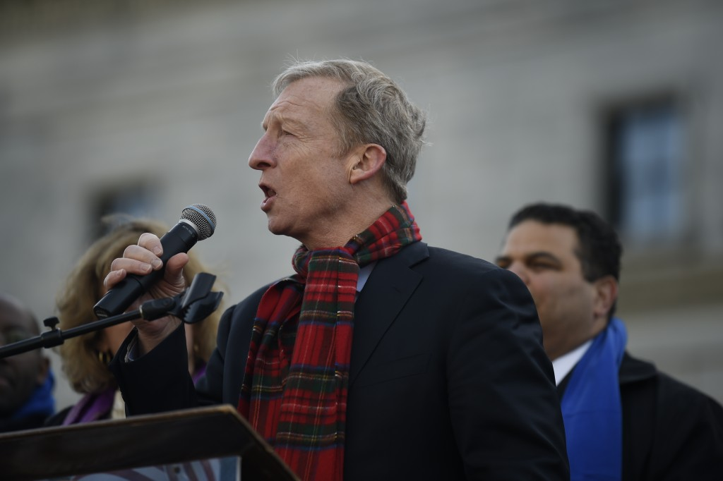 Democratic presidential hopeful Tom Steyer speaks at a Dr. Martin Luther King Jr. Day rally on Monday, Jan. 20, 2020, in Columbia, S.C. (AP Photo/Meg ...