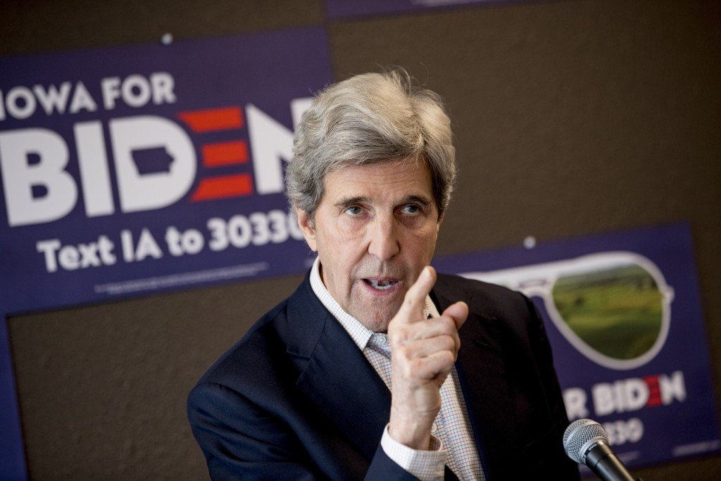 FILE - In this Jan. 9, 2020, file photo, former Secretary of State John Kerry speaks at a campaign stop to support Democratic presidential candidate f...