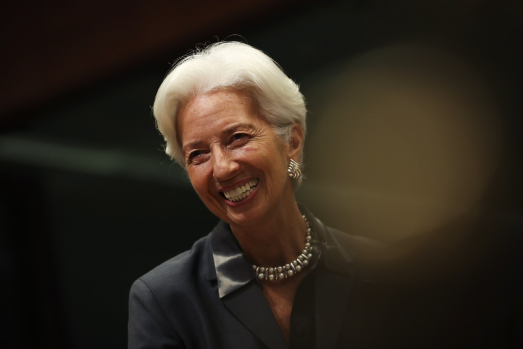 European Central Bank President Christine Lagarde smiles during a meeting of European Union Finance Ministers in Eurogroup format at the Europa buildi...