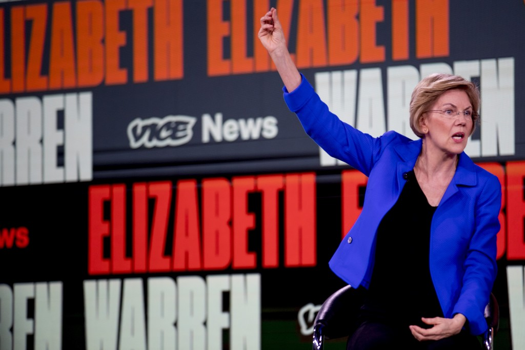 Democratic presidential candidate Sen. Elizabeth Warren, D-Mass., speaks at the Brown & Black Forum at the Iowa Events Center, Monday, Jan. 20, 2020, ...