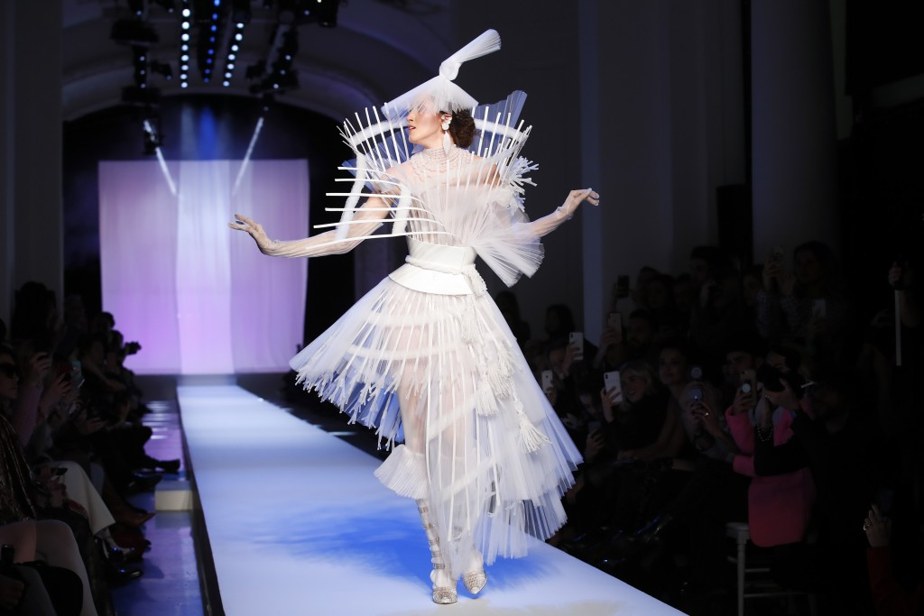 FILE - In this Wednesday Jan.23, 2019 file photo, a model wears a creation for Jean-Paul Gaultier's Spring/Summer 2019 Haute Couture fashion collectio...