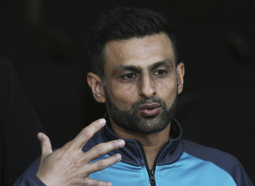 Pakistan allrounder Shoaib Malik gestures during a press conference in Lahore, Pakistan, Wednesday Jan. 22, 2020. Malik said he wants to focus on the ...