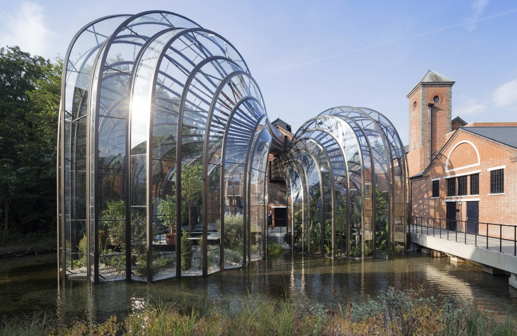 The former paper mill Laverstoke Mill distillery located on the River Test in Laverstoke, southern England, in 2015, that hosts over 100,000 visitors ...