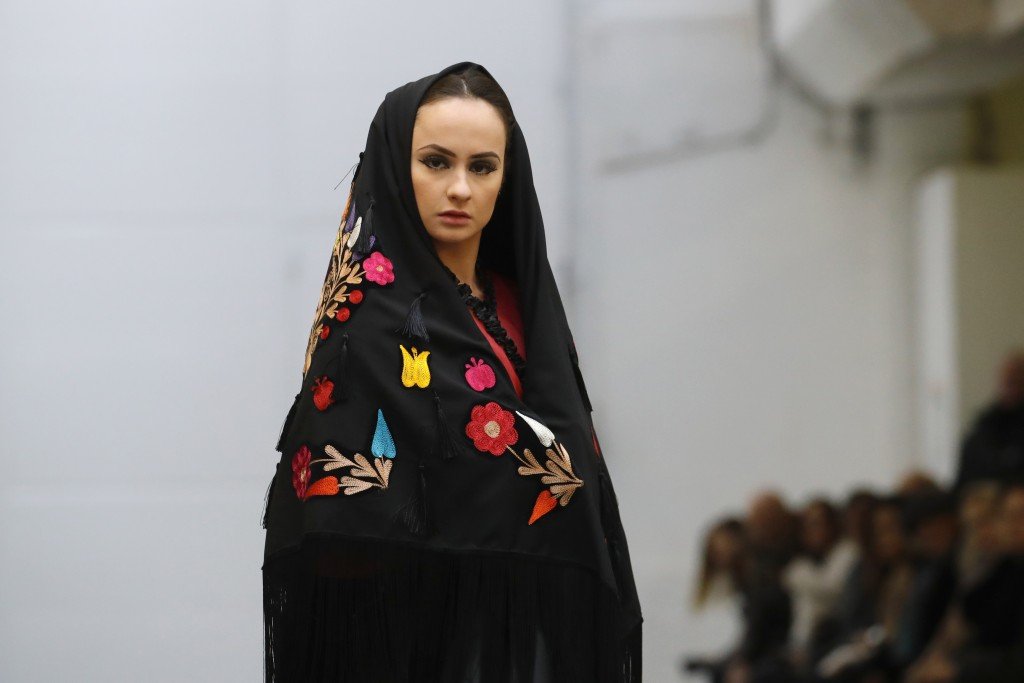 A model wears a creation for the Franck Sorbier Haute Couture Spring/Summer 2020 fashion collection presented Tuesday Jan. 21, 2020 in Paris. (AP Phot...