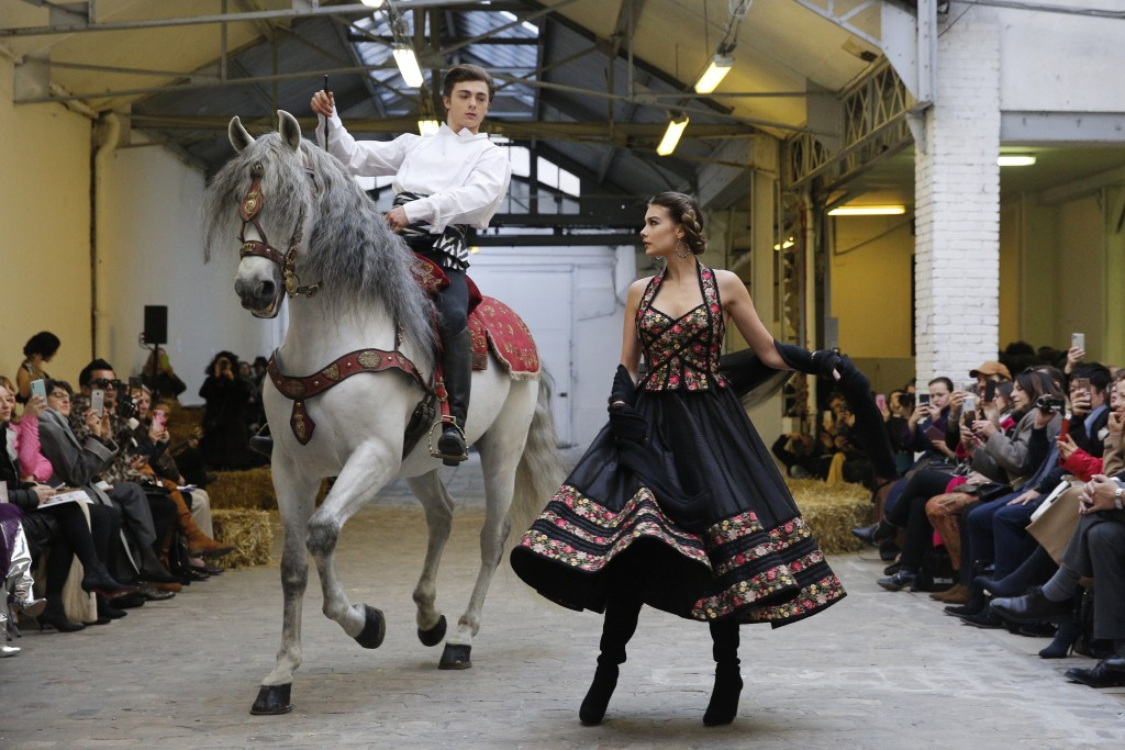 Models wear creations for the Franck Sorbier Haute Couture Spring/Summer 2020 fashion collection presented Tuesday Jan. 21, 2020 in Paris. (AP Photo/C...