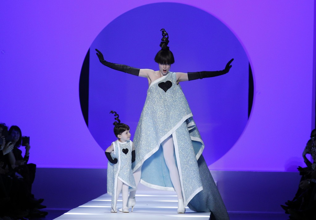 FILE - In this Wednesday, Jan. 24, 2018 file photo, Model Coco Rocha, right, poses with her 2-year-old daughter Ioni Conran wearing creations for the ...