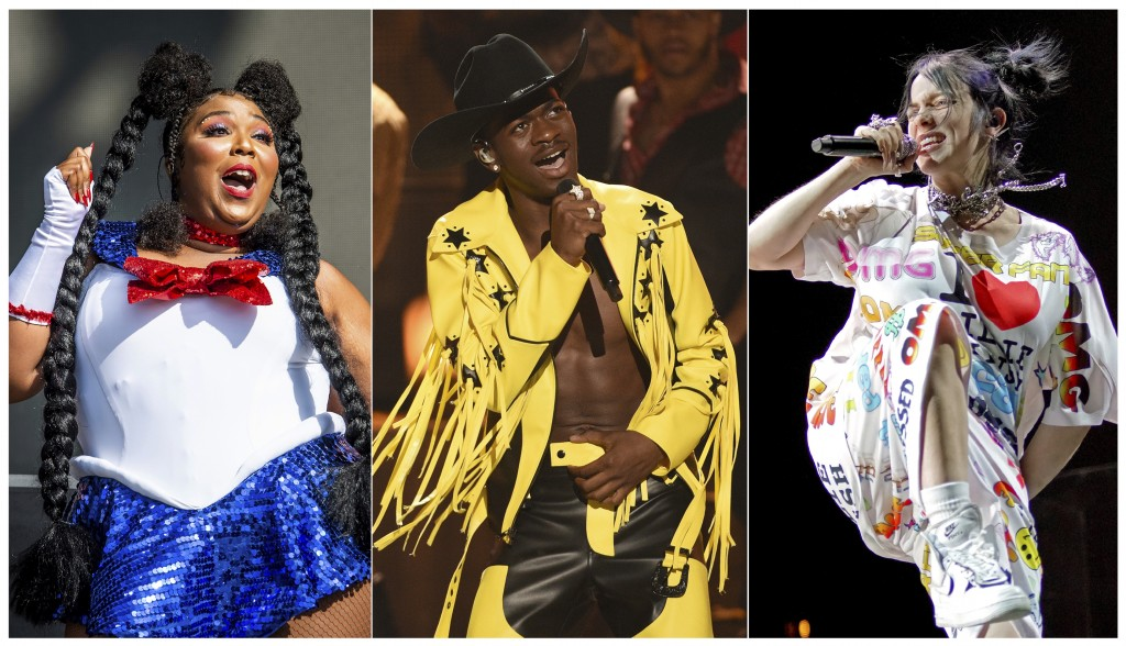 """This combination of photos shows, from left, Lizzo performing at the Voodoo Music Experience in New Orleans on Oct. 27, 2018, Lil Nas X performing """"Ol..."""