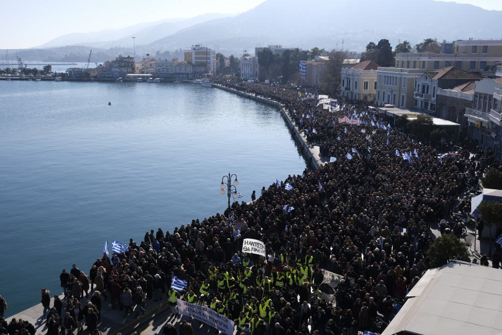 Greek islanders strike against refugee camps