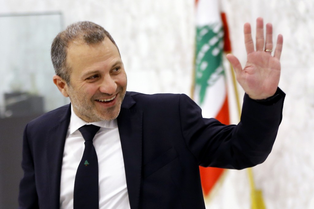 FILE - This Feb. 2, 2019 file photo, Lebanese Foreign Minister Gebran Bassil arrives to attend the first meeting of the Lebanese cabinet at the Presid...