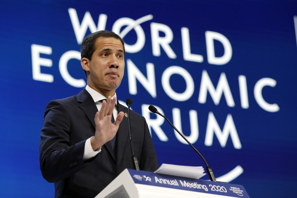 The leader of Venezuela's political opposition Juan Guaido addresses the World Economic Forum in Davos, Switzerland, Thursday, Jan. 23, 2020. The 50th...
