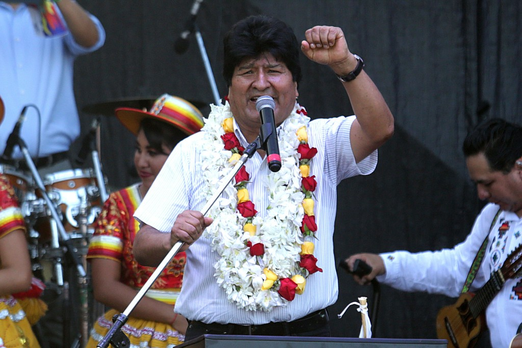 Bolivia's former President Evo Morales speaks at a rally in Buenos Aires, Argentina, Wednesday, Jan. 22, 2020. Morales is celebrating what would have ...