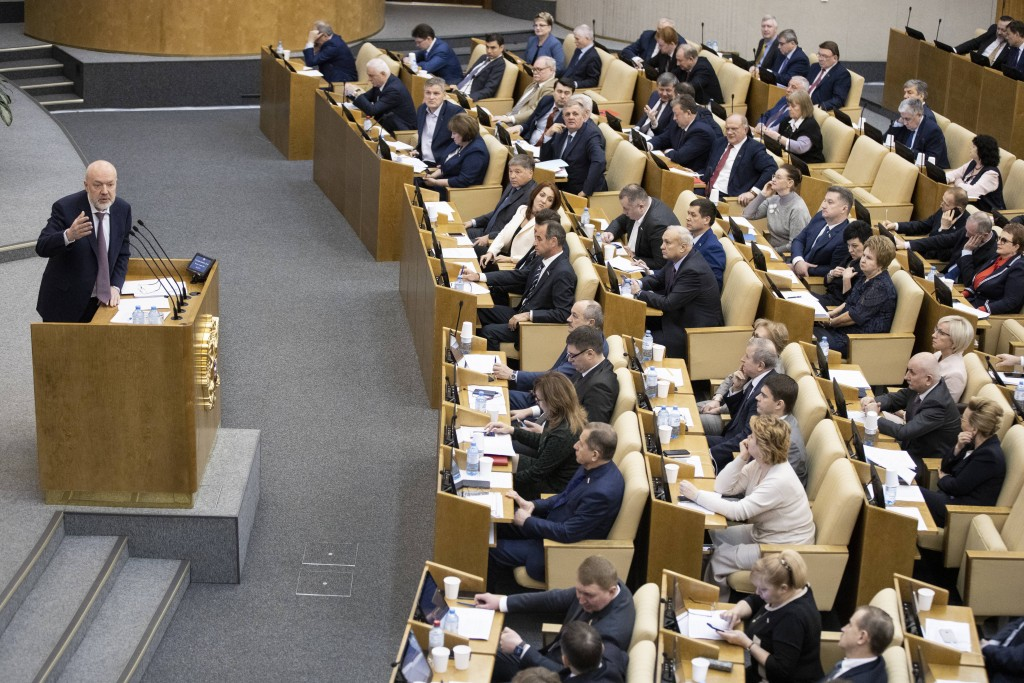 Pavel Krasheninnikov, lawmaker and co-chair of the constitutional reform working group speaks during a session at the Russian State Duma, the Lower Ho...