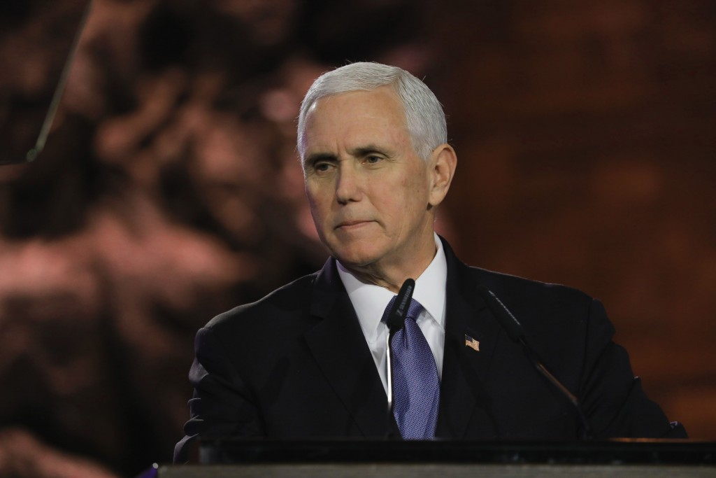 U.S. Vice President Mike Pence speaks during the World Holocaust Forum in Jerusalem, Thursday, Jan. 23, 2020.   Pence, Russian President Vladimir Puti...