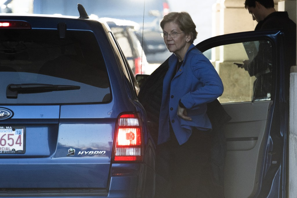 Sen. Elizabeth Warren, D-Mass. arrives at the Capitol in Washington, Wednesday, Jan. 22, 2020. The U.S. Senate was poised to hear opening arguments We...