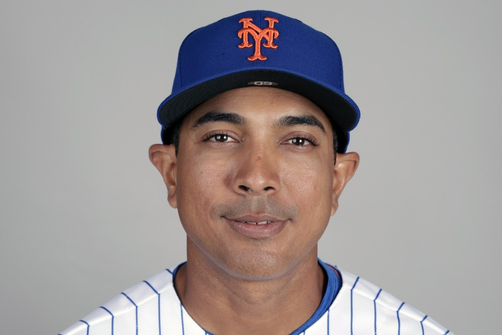 FILE - This is a 2019 photo showing Luis Rojas of the New York Mets baseball team. The New York Mets are finalizing a multiyear agreement with quality...